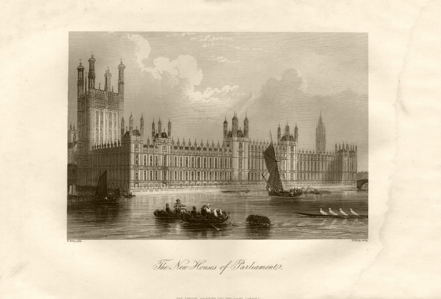 Associate Product Houses of Parliament w/o Big Ben clock tower (1859), Westminster, London c1855