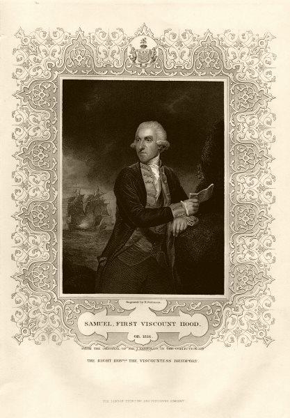 Associate Product Samuel, 1st Viscount Hood (1724-1816). After Reynolds. TALLIS c1855 print