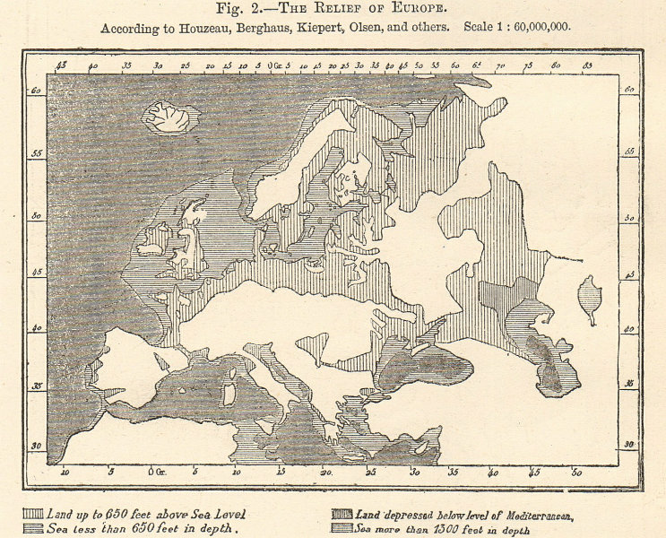 Europe Relief per Houzeau, Berghaus, Kiepert, Olsen. Sketch map 1885 old
