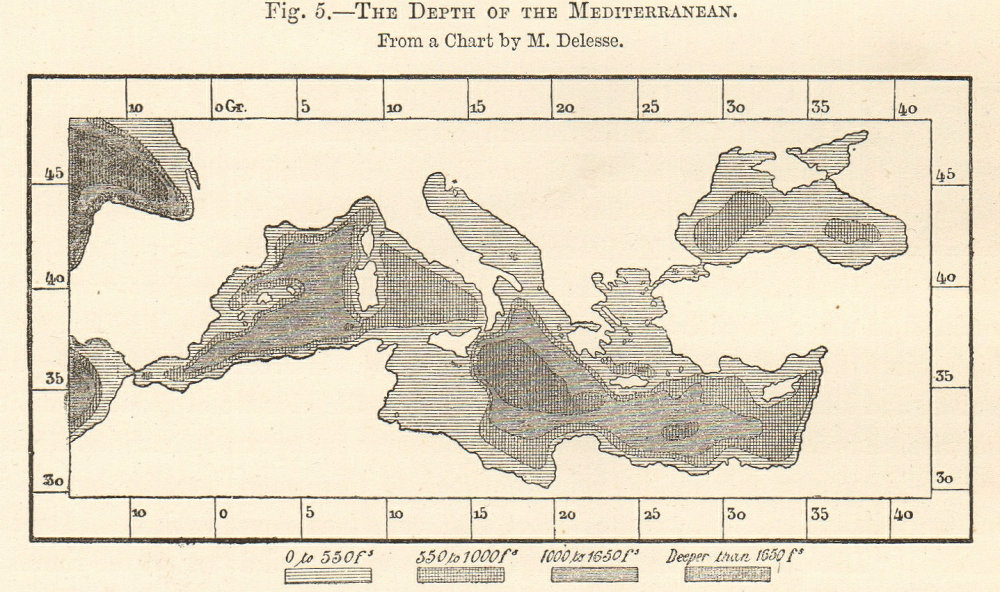 The Depth of the Mediterranean sketch map. Delesse 1885 old antique chart