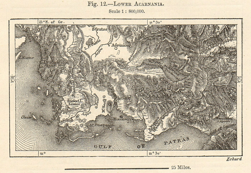 Associate Product Lower Acarnania. Greece sketch map. Gulf of Patras 1885 old antique chart