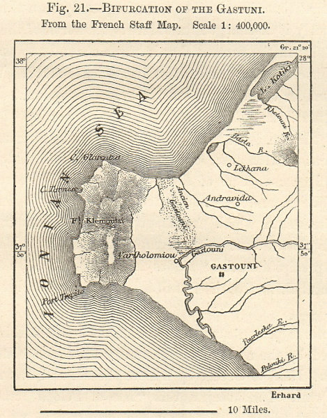 Associate Product Bifurcation of Gastuni / Gastouni. Greece sketch map. SMALL 1885 old