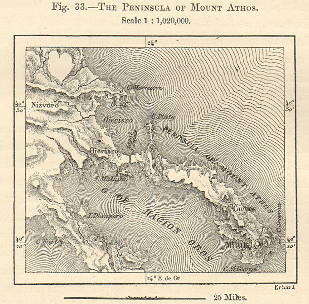 Associate Product The Peninsula of Mount Athos. Greece sketch map. SMALL 1885 old antique