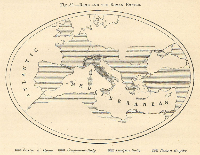 Associate Product Rome and the Roman Empire. Europe sketch map 1885 old antique plan chart