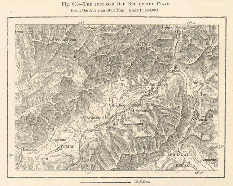 Associate Product The supposed old bed of the Piave river. Belluno. Italy sketch map 1885
