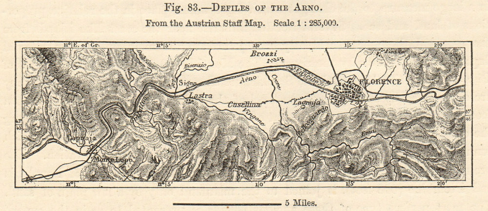 Associate Product Defiles of the Arno from the Austrian Staff Map. Florence Sketch map. SMALL 1885
