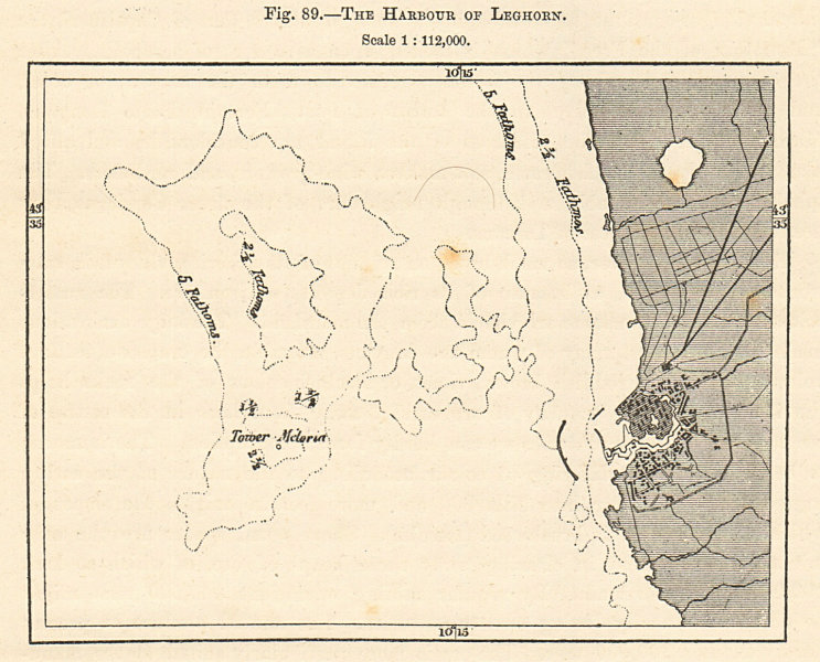 Associate Product The Harbour of Leghorn. Livorno, Italy. Sketch map 1885 old antique chart