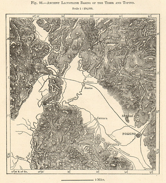 Associate Product Ancient Lacustrine Basins of the Tiber and Topino. Italy. Sketch map 1885