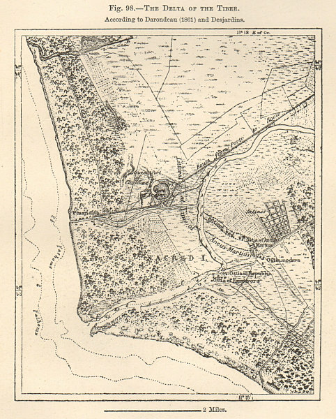 Associate Product The Delta of the Tiber per to Darondeau & Desjardins. Italy. Sketch map 1885