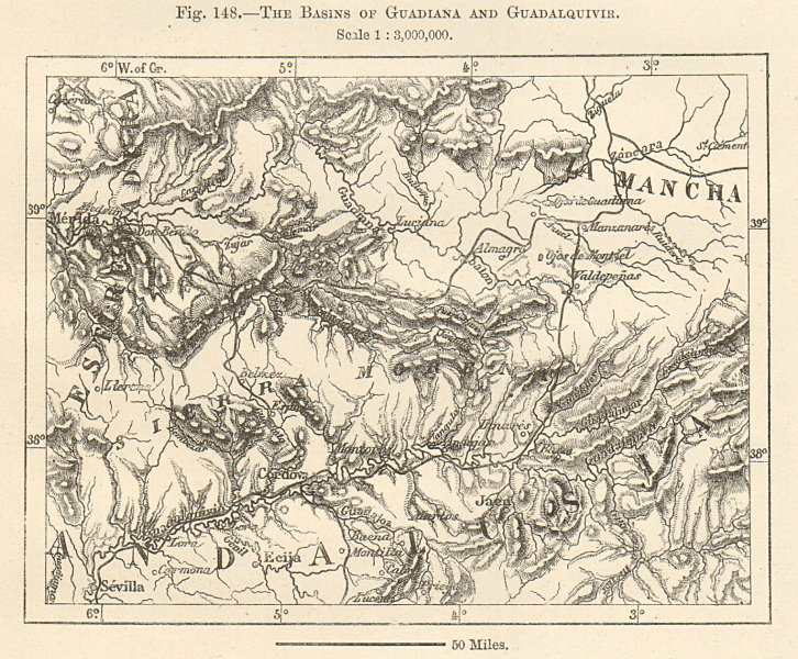 Associate Product Guadiana and Guadalquivir river basins. Spain. Sketch map 1885 old antique