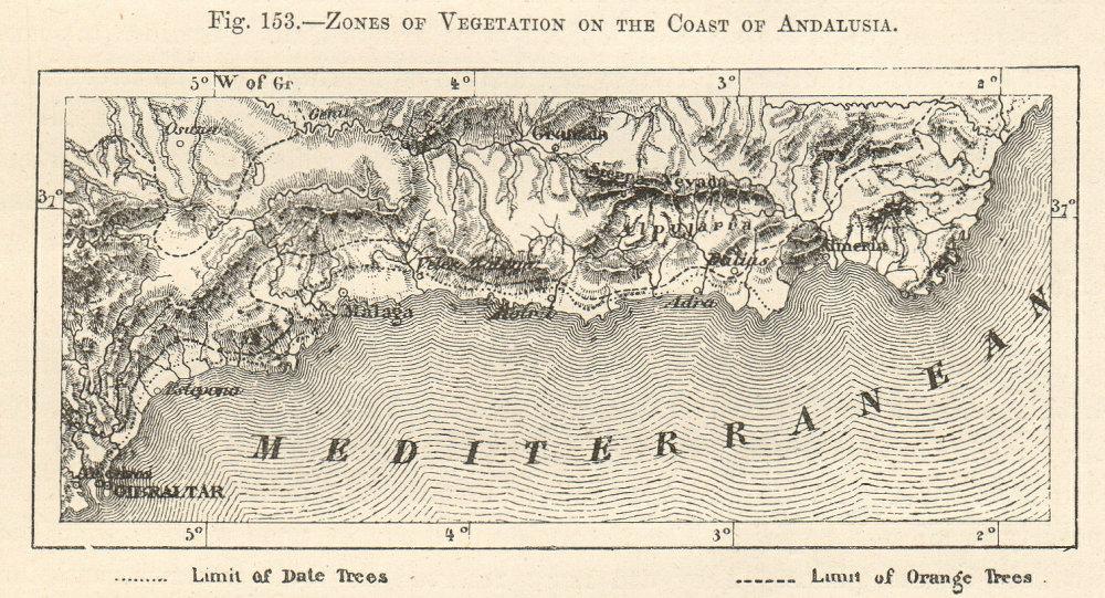 Associate Product Vegetation zones, coast of Andalusia. Gibraltar-Malaga-Almeria. Sketch map 1885