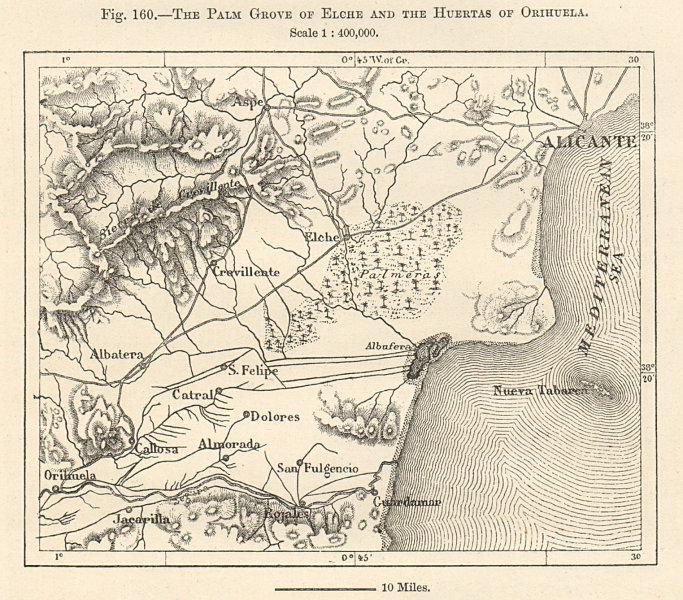 Associate Product Alicante. Elche Jardin Huerto del Cura. Orihuela. Spain. Sketch map 1885