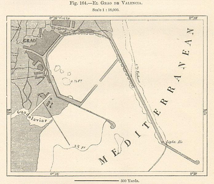 Associate Product El Grao de Valencia plan. Poblados Maritimos. Spain. Sketch map 1885 old