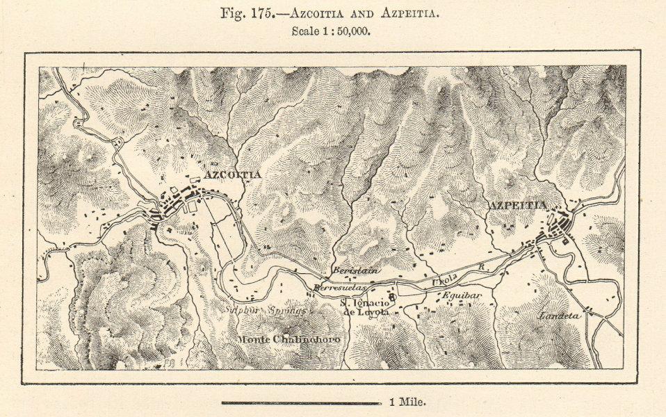 Associate Product Azkoitia and Azpeitia plan. Basque Country, Spain. Sketch map 1885 old