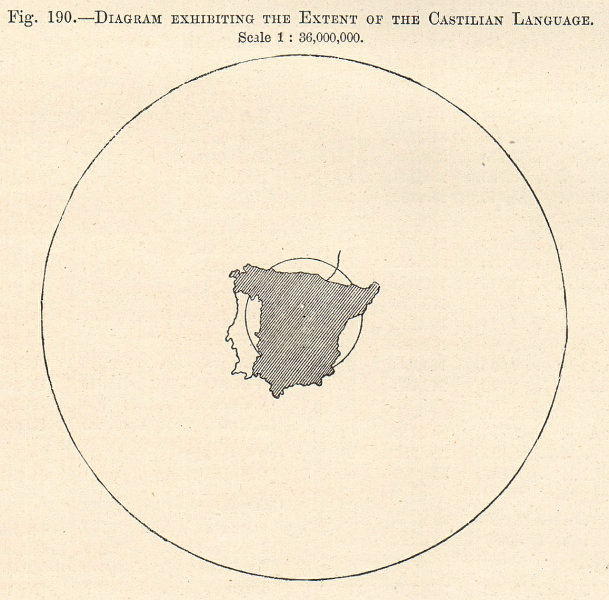 Associate Product Diagram exhibiting the extent of the Castilian Language. Spain. Sketch map 1885
