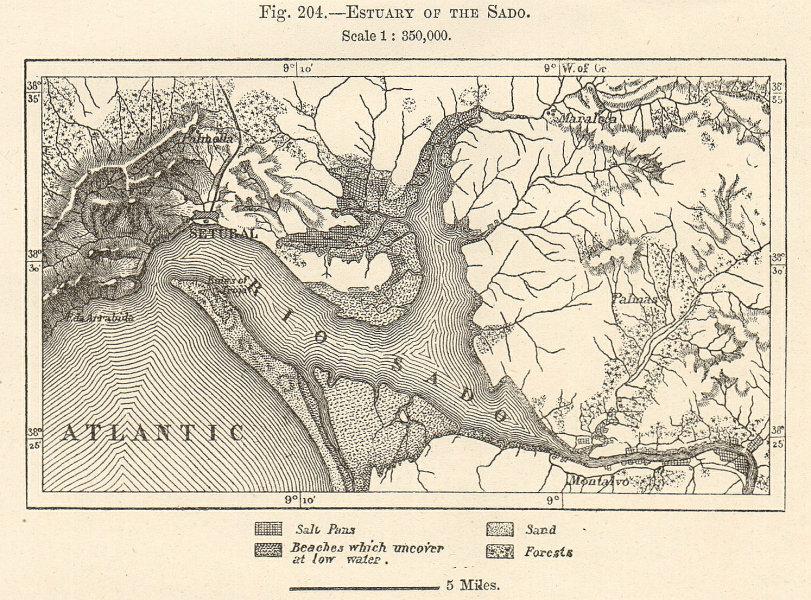 Estuary of the Sado. Setubal, Portugal. Sketch map 1885 old antique chart