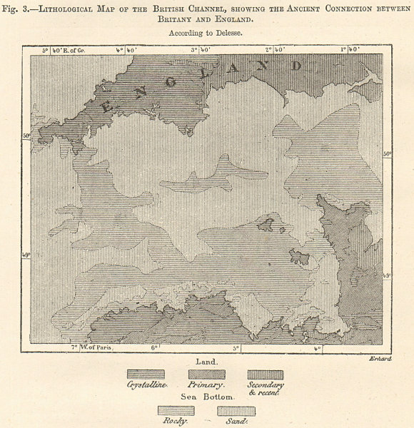 Associate Product English Channel lithological. Ancient France-England connection. Sketch map 1885