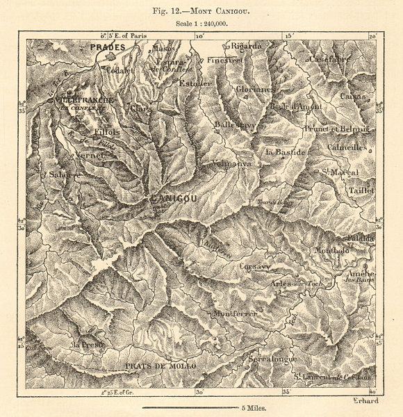 Associate Product Mount Pic du Canigou. Prades. Pyrénées-Orientales. Sketch map 1885 old