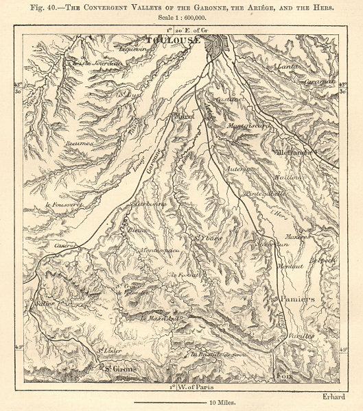 Associate Product Garonne, Ariege & Hers convergent valleys Toulouse Haute-Garonne Sketch map 1885