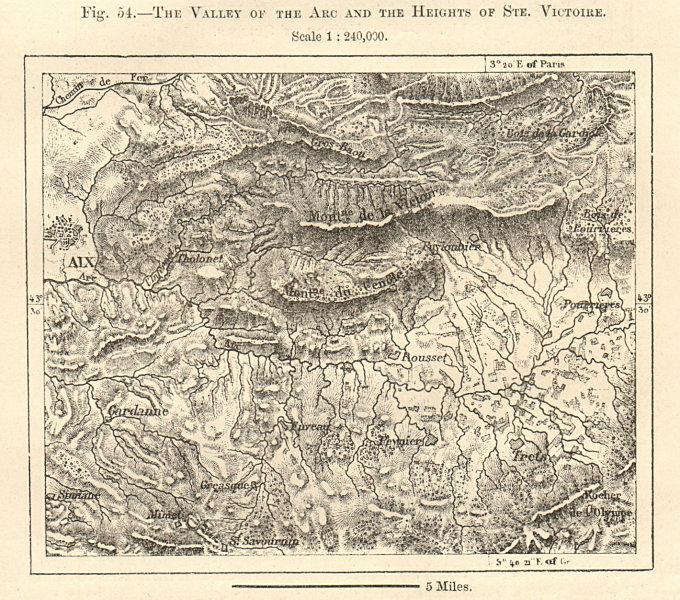 Associate Product Arc Valley & Montagne Sainte-Victoire. Aix-en-Provence. Sketch map 1885