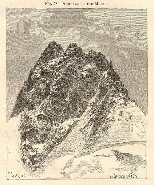La Meije, Massif des Écrins. Hautes-Alpes/ Isère 1885 old antique print