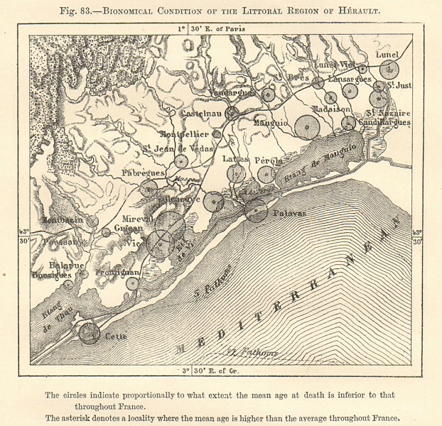 Associate Product Herault littoral. High/low death rates. Montpellier environs. Sketch map 1885