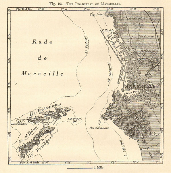 Associate Product Roadstead of / Rade de Marseilles. Bouches-du-Rhône. Sketch map 1885 old