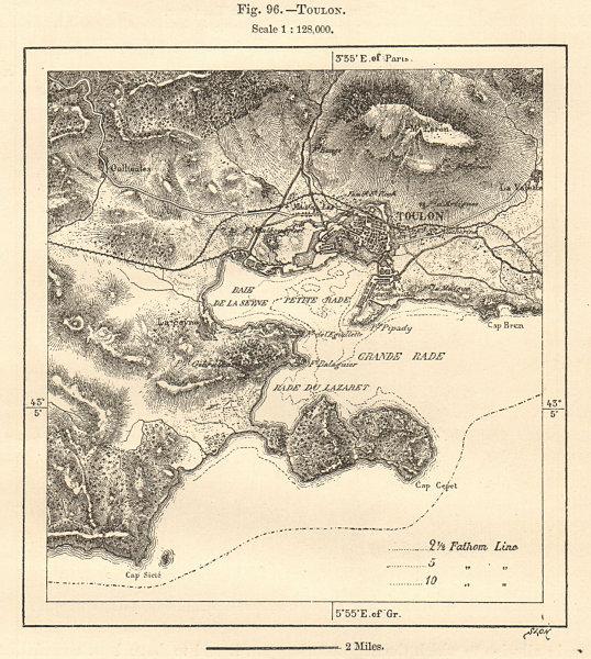 Associate Product Rade de Toulon & environs. Var. Sketch map 1885 old antique plan chart