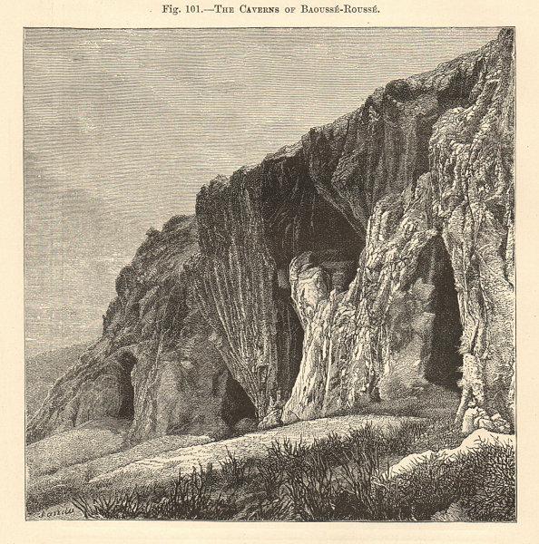 Associate Product Balzi Rossi caves, Ventimiglia. Italy. Baoussé-Rousse 1885 old antique print