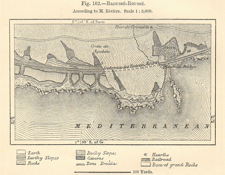 Associate Product Balzi Rossi caves, Ventimiglia. Italy. Baoussé-Rousse. Sketch map 1885 old