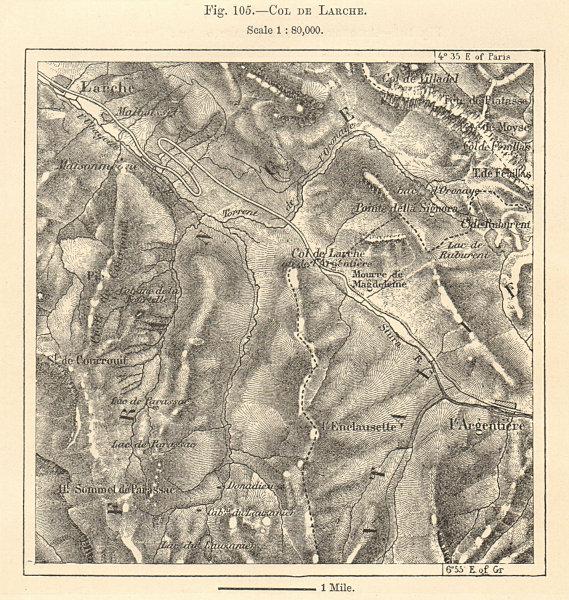 Associate Product Col de Larche Maddalena Pass Argentera Alpes-de-Haute-Provence. Sketch map 1885