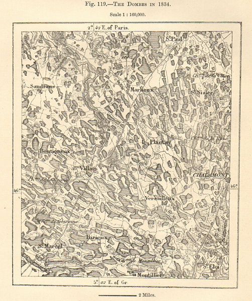Associate Product The Dombes in 1834. Ain. Sketch map 1885 old antique vintage plan chart