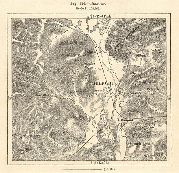 Associate Product Belfort & environs. Territoire de Belfort. Sketch map 1885 old antique