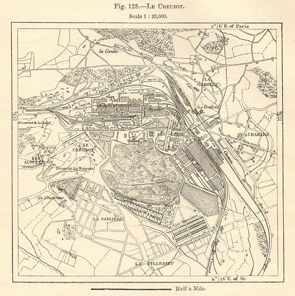 Associate Product Le Creusot plan. Factories. Saône-et-Loire. Sketch map 1885 old antique