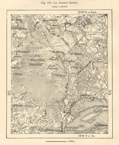 Associate Product La Grande Brière. St Nazaire. Loire-Atlantique. Sketch map 1885 old