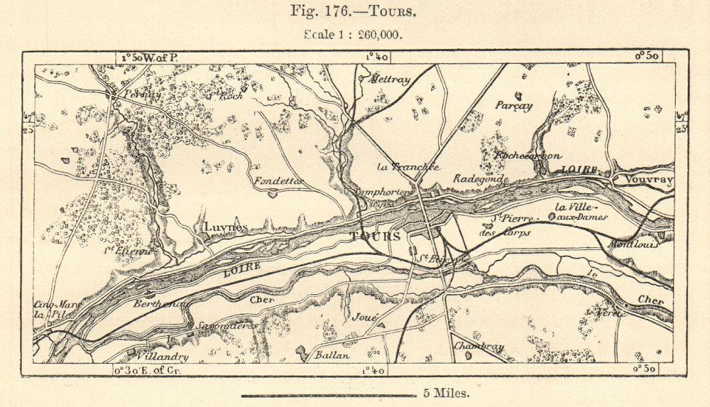 Associate Product Tours environs. Indre-et-Loire. Sketch map 1885 old antique plan chart