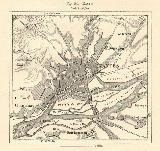 Associate Product Nantes town plan. Loire-Atlantique. Sketch map 1885 old chart