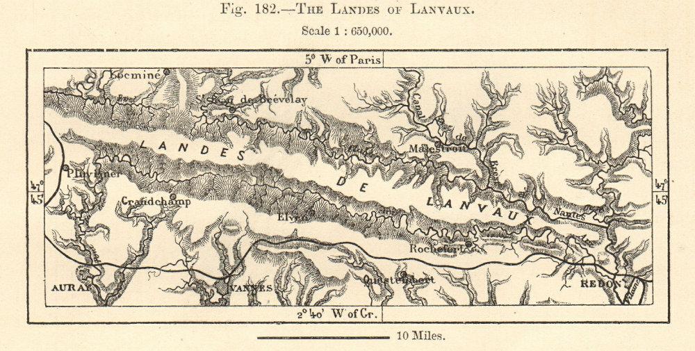 Associate Product The Landes of Lanvaux. Vannes Auray Redon Morbihan. Sketch map 1885 old