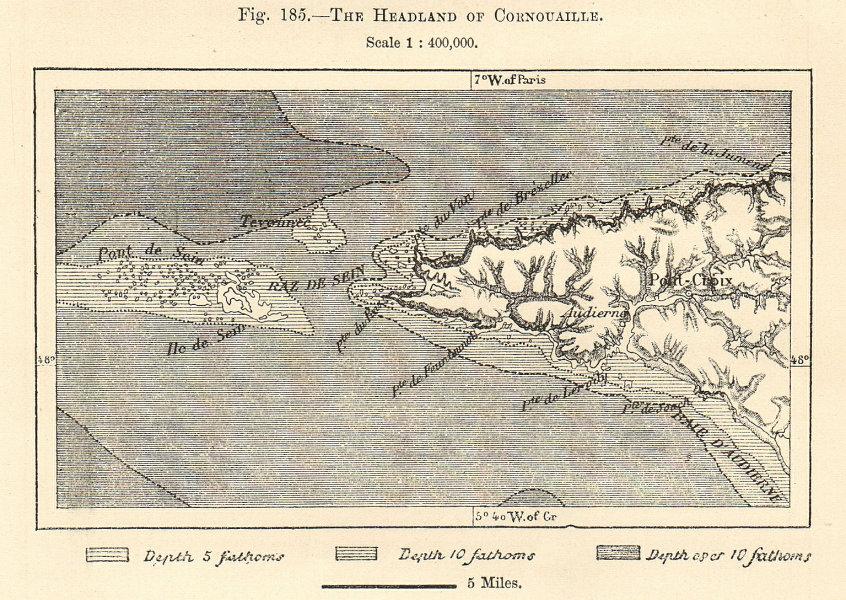 Associate Product The Headland of Cornouaille. Finistère. Pont-Croix. Sketch map 1885 old