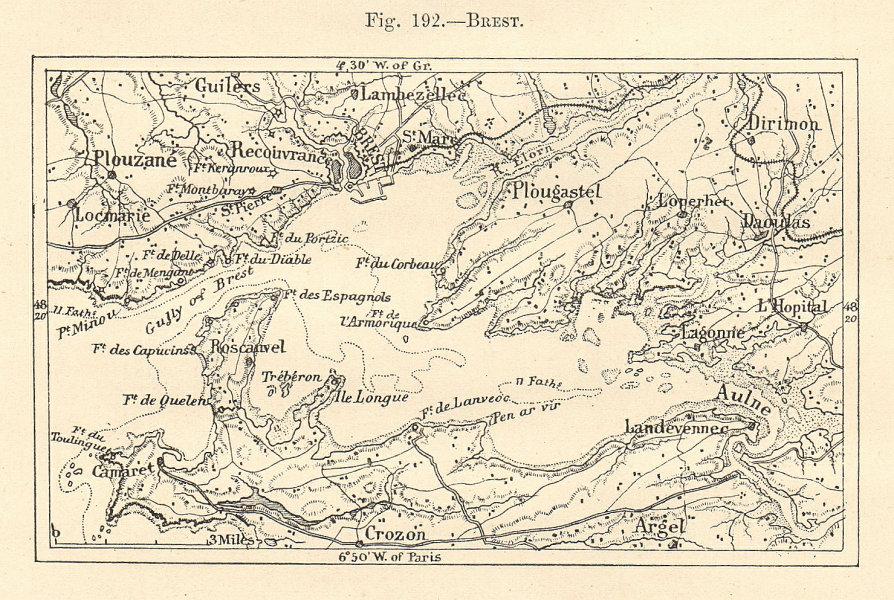 Associate Product Rade de Brest. Armorique. Finistère. Sketch map 1885 old antique chart