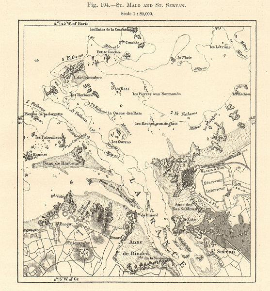 St. Malo and St. Servan. Dinard Ille-et-Vilaine. Sketch map 1885 old