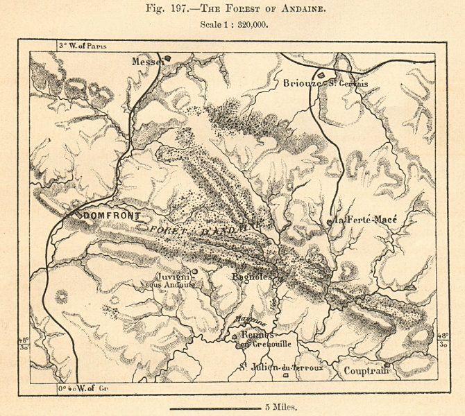 Associate Product The Forest / Forêt des Andaines. Domfront. Orne. Sketch map 1885 old