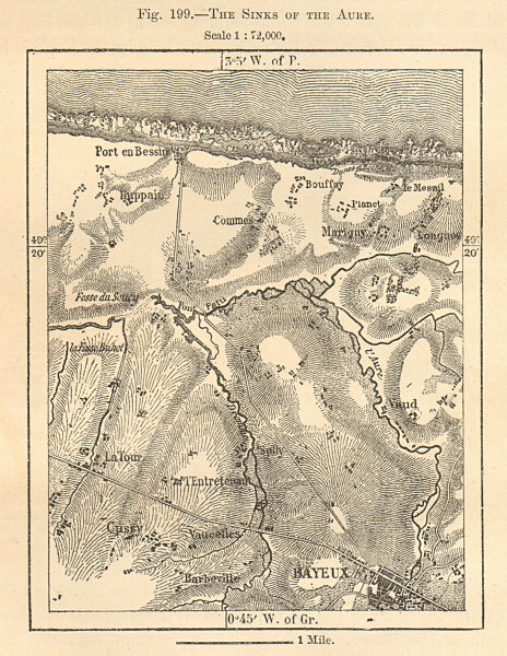 The Sinks of Aure. Bayeux. Calvados. Sketch map 1885 old antique chart