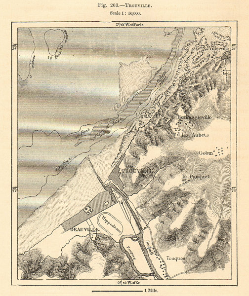 Associate Product Trouville & Deauville plan & environs. Calvados. Sketch map 1885 old
