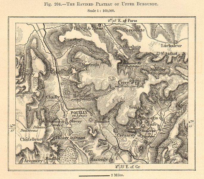 Associate Product Upper Burgundy ravined plateau. Pouilly-en-Auxois. Côte-D'Or. Sketch map 1885