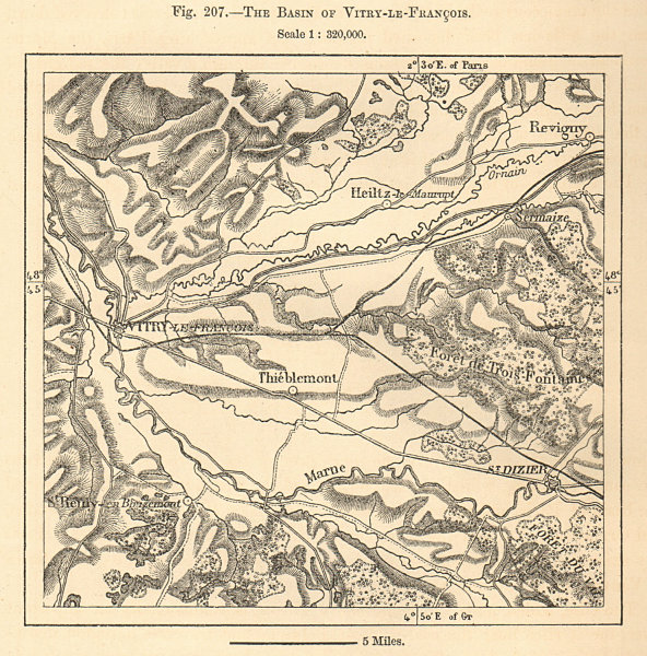 Associate Product The basin & environs of Vitry-Le-François. Marne. Sketch map 1885 old