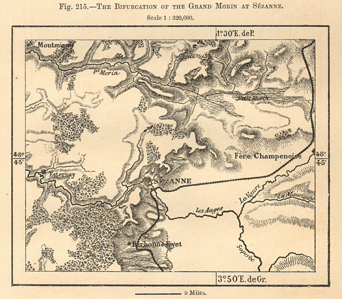 Associate Product The Bifurcation of the Grand Morin at Sézanne. Marne. Sketch map 1885 old