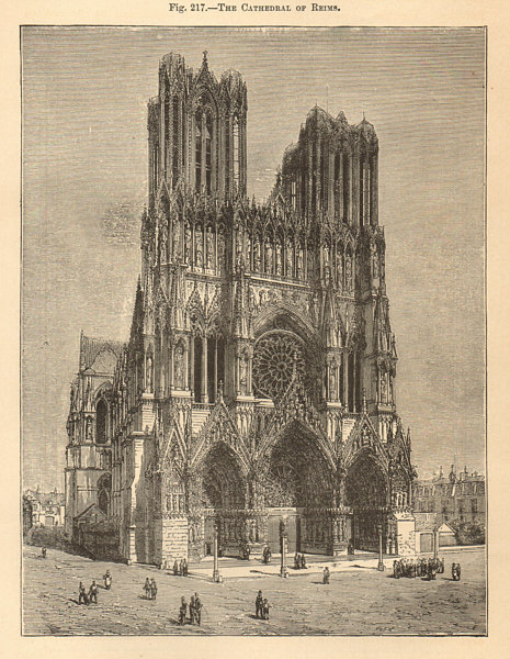Associate Product The Cathedral of Reims. Marne 1885 old antique vintage print picture