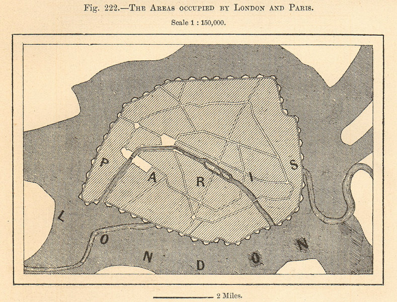 Associate Product The Areas Occupied by London and Paris. Europe. Sketch map 1885 old