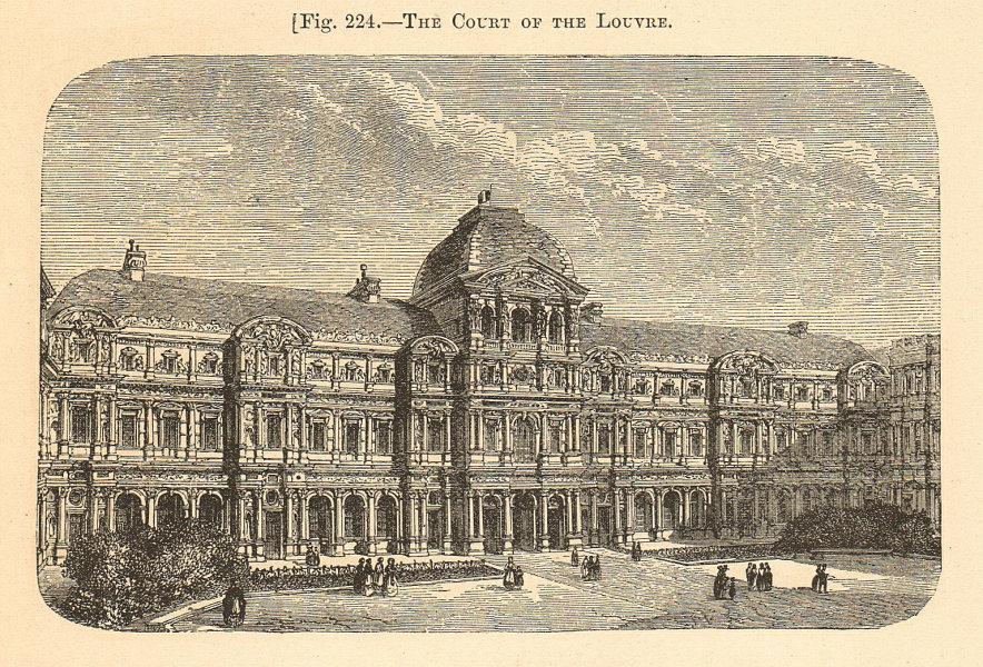 Associate Product The Court of the Louvre. Cour Carrée. Paris. Palaces 1885 old antique print